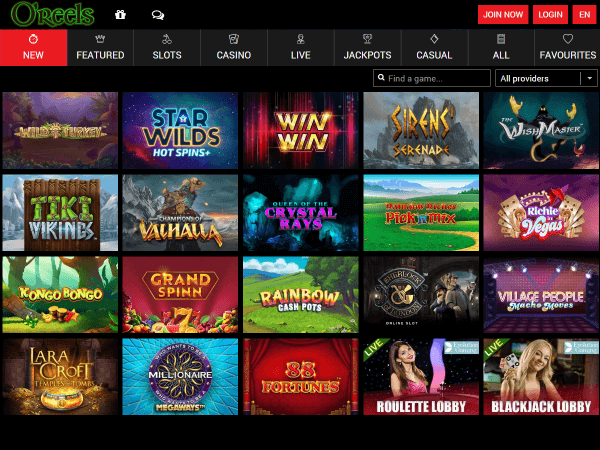 O'Reels Casino Desktop - New Games