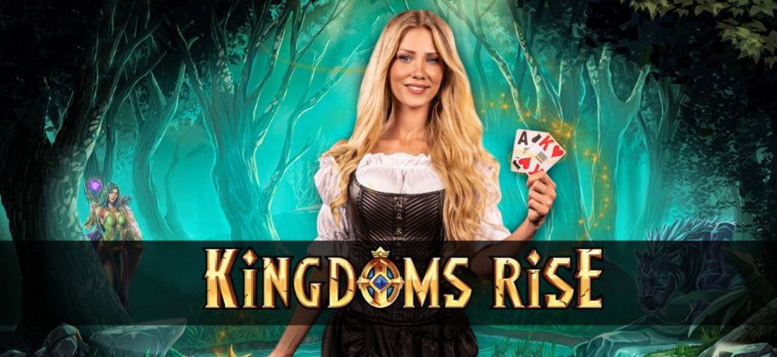 Win a share of 200,000 free spins playing Kingdoms Rise Lucky cards - Banner