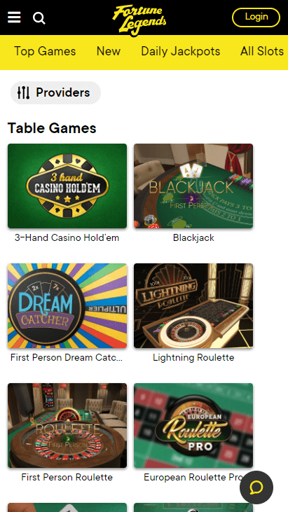 Fortune Legends Mobile - Table Games
