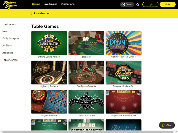 Fortune Legends Desktop - Table Games