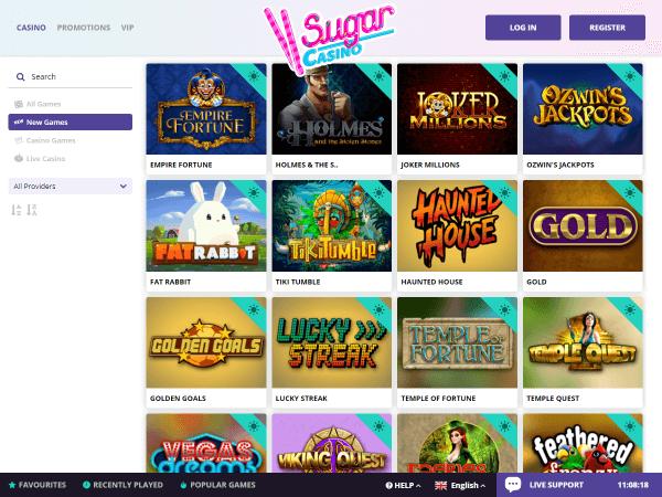 Sugar Casino Desktop - New Games
