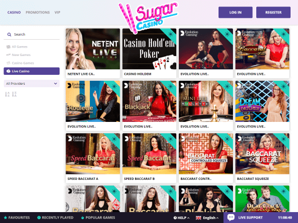 Sugar Casino Desktop - Live Casino