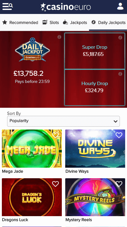 Casino Euro Mobile - Daily Jackpots