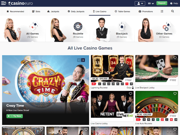 Casino Euro Desktop - Live Casino
