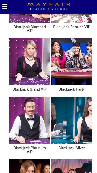 Mayfair Mobile Casino - Blackjack
