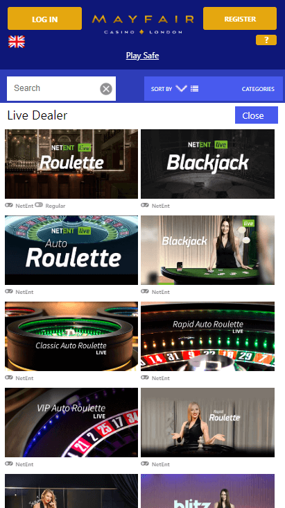 Mayfair Mobile Casino - Live Dealer