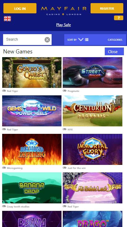 Mayfair Mobile Casino - New Games