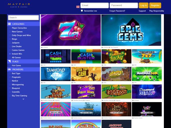 Mayfair Desktop Casino - Instant Wins