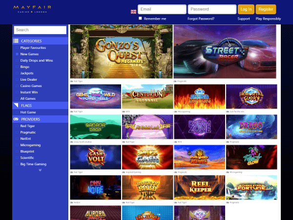 Mayfair Desktop Casino - New Games