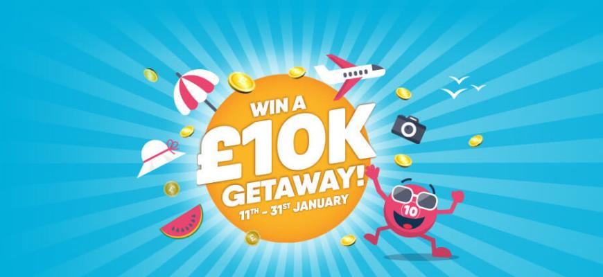 Win a luxury £10K getaway with no wagering casino Buzz Bingo - Banner