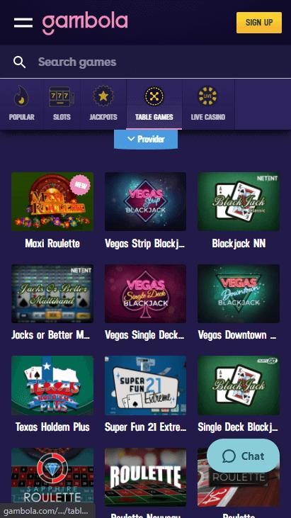 Gambola Casino Mobile - Table Games