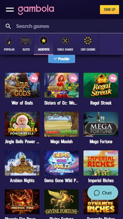 Gambola Casino Mobile - Jackpots