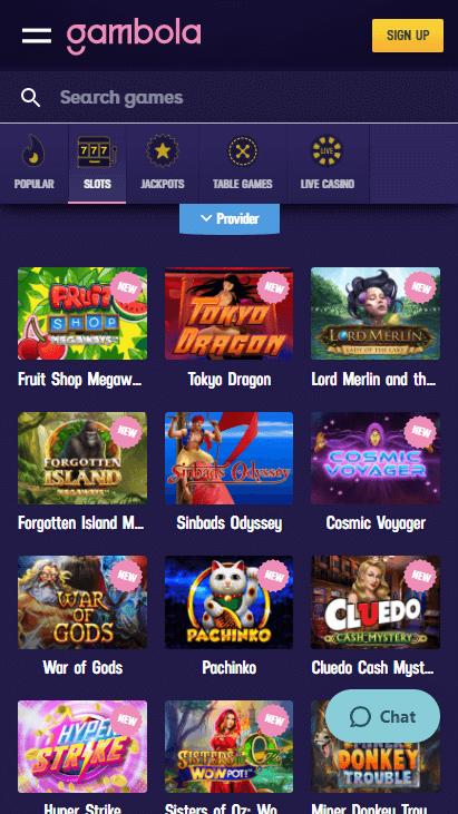 Gambola Casino Mobile - Slots