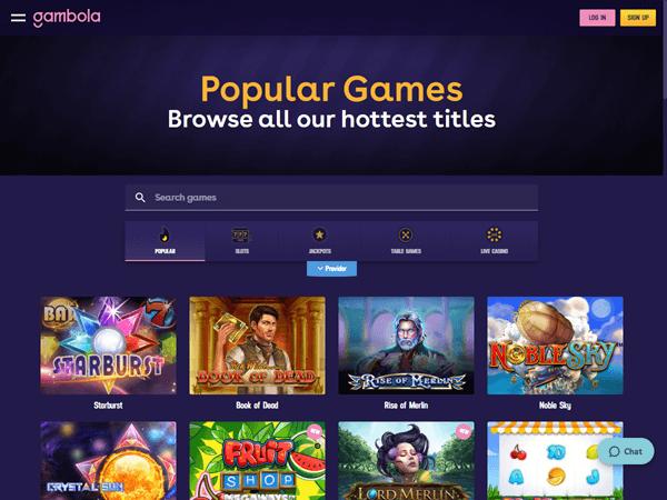 Gambola Casino Desktop - Home