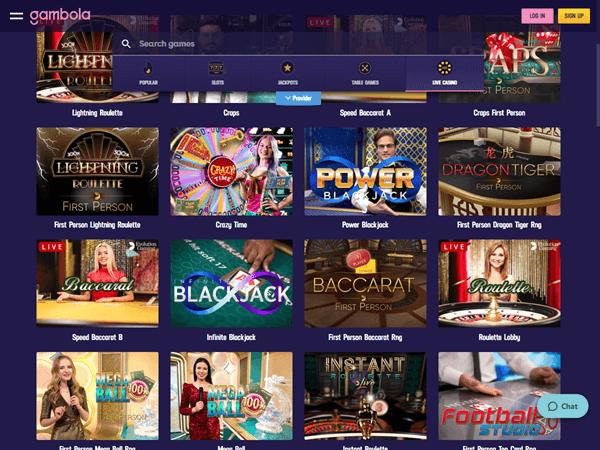 Gambola Casino Desktop - Live Casino