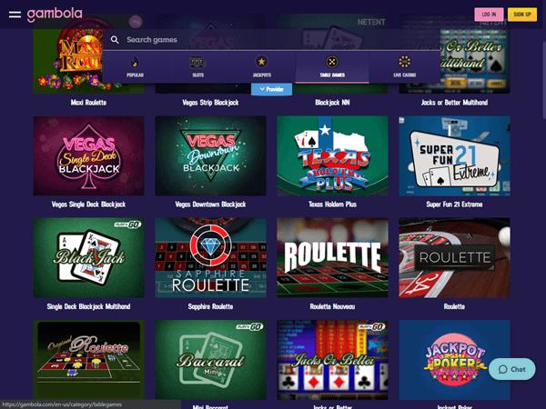 Gambola Casino Desktop - Table Games