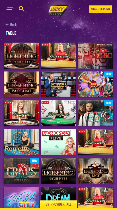 Lucky Casino Mobile - Table Games