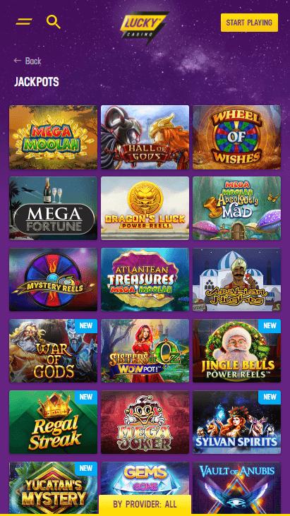 Lucky Casino Mobile - Jackpots