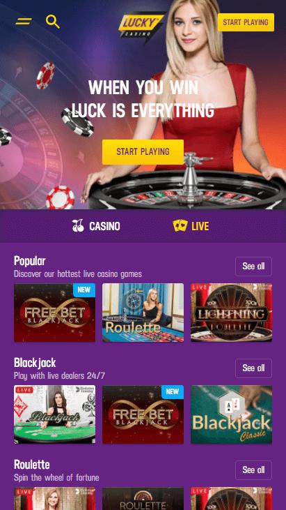 Lucky Casino Mobile - Live Casino