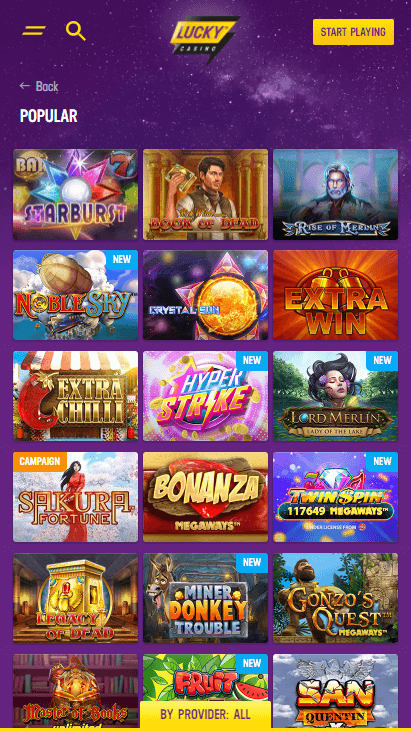 Lucky Casino Mobile - Home