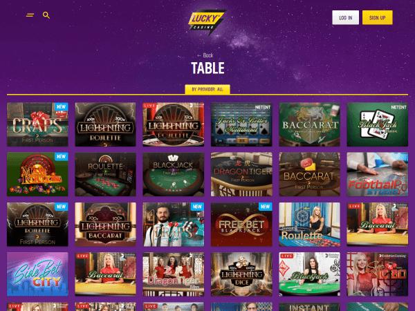 Lucky Casino Desktop - Table Games