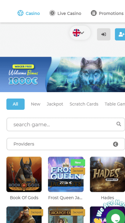 Wolfy Casino Mobile - Home