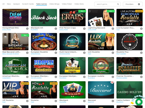 Wolfy Casino Desktops - Table Games