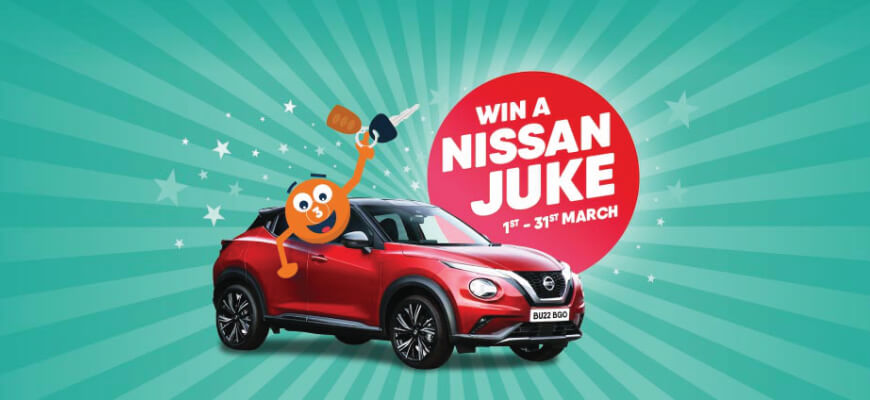 Win an £18,000 Nissan Juke playing your favourite slots at Buzz Bingo - Banner