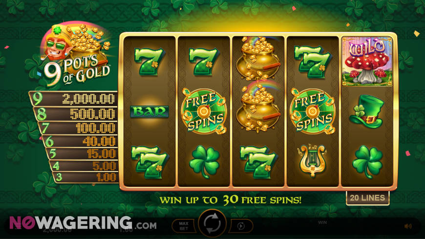 9 Pots of Gold Online Slot by Microgaming - Screenshot