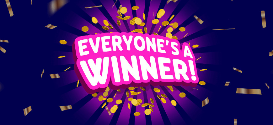 Win free spins, scratchcards, bonuses & cash in PlayOJO's Everyone's a Winner! - Banner