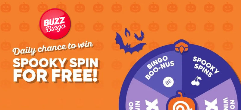 Win spooky free spins and more with Buzz Bingo's Hallowinner Spinner - Banner